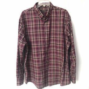 Nordstrom Plaid Purple Blue Button Down Shirt XL